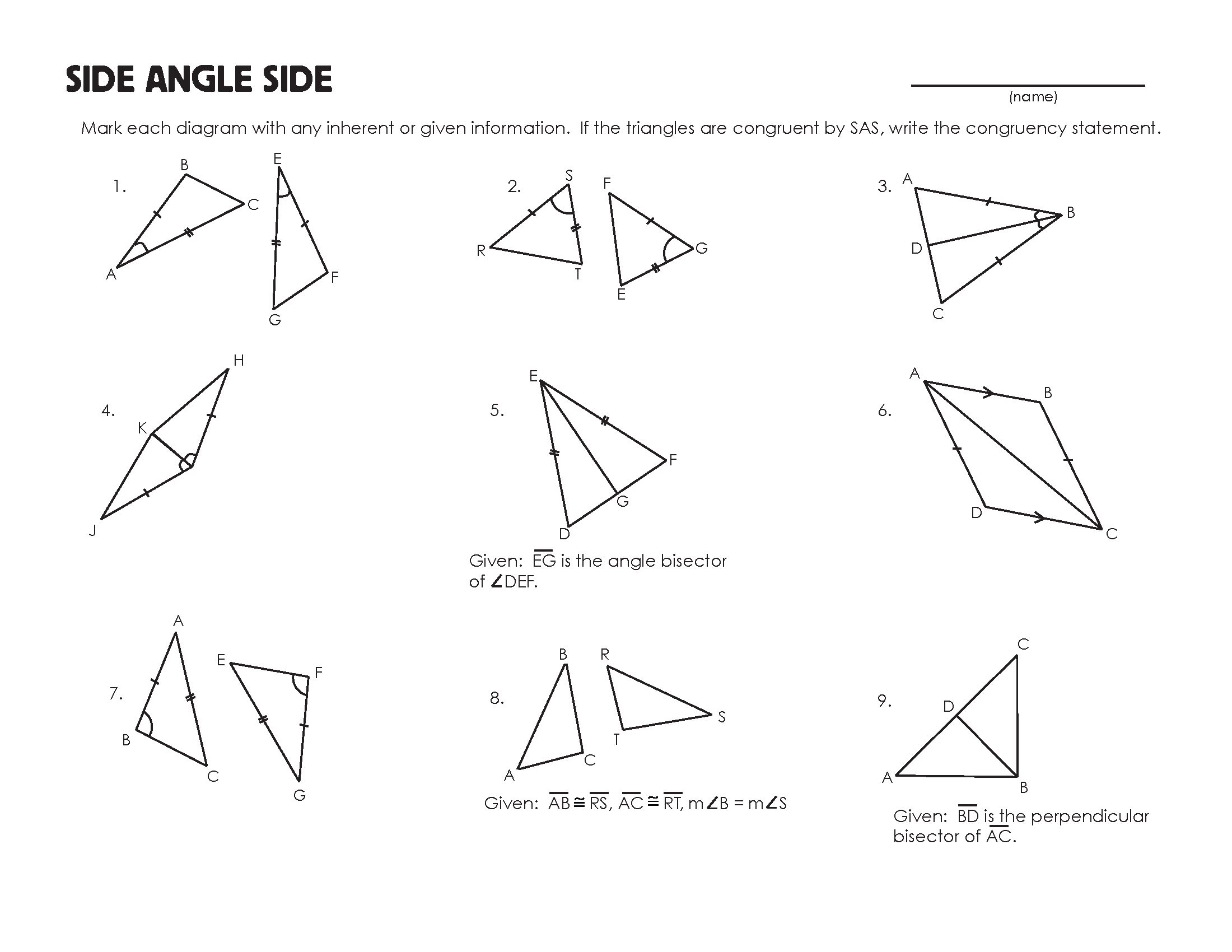 Congruent Triangles Worksheet | mrmillermath