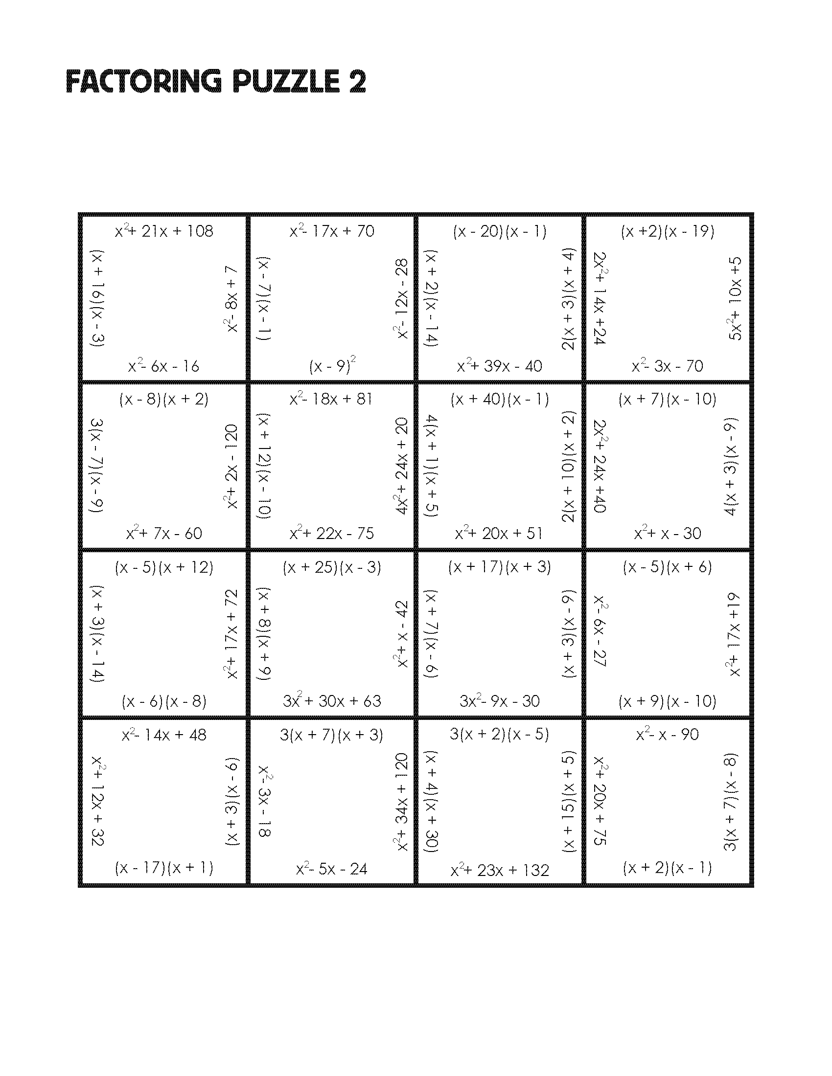 Factoring Puzzle Practice Version – Algebra 2 Factoring Polynomials Worksheet