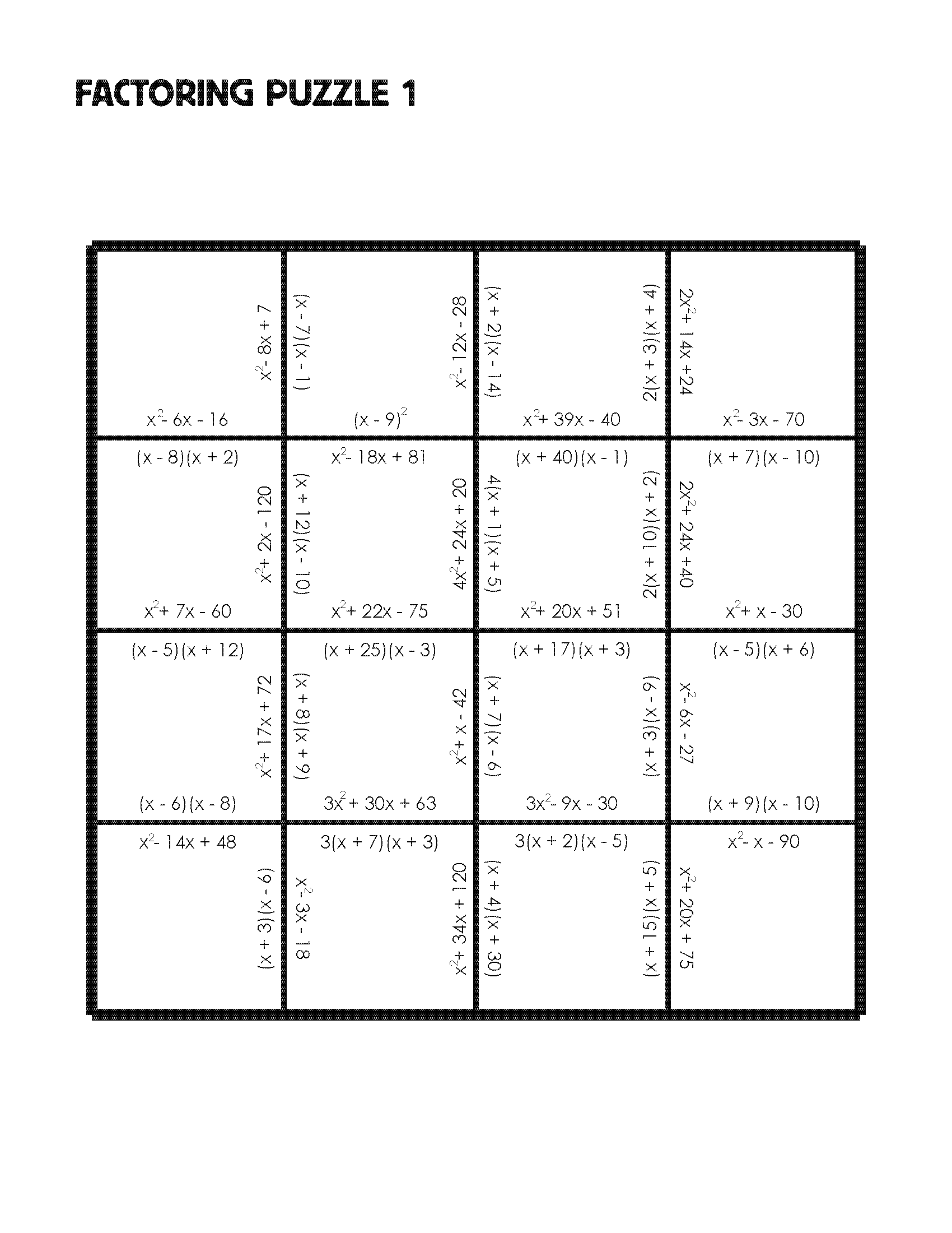 worksheet Algebra Puzzle Worksheets factoring puzzle practice version mrmillermath factorpuzzlepractice factorpuzzlechallenge