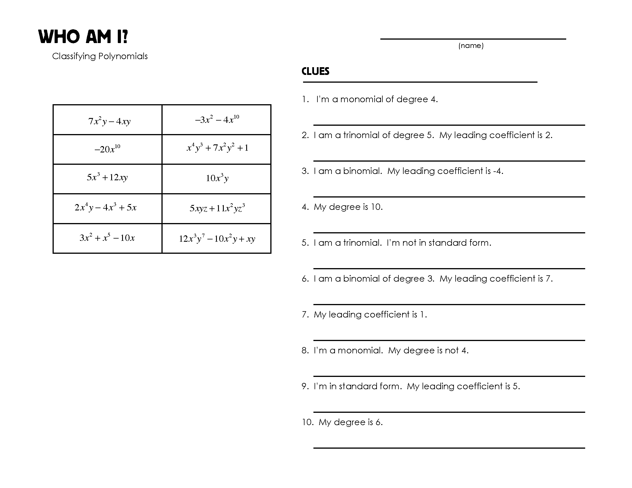 worksheet Polynomials Worksheets classifying polynomials mrmillermath whoamiclassifyingpolynomials