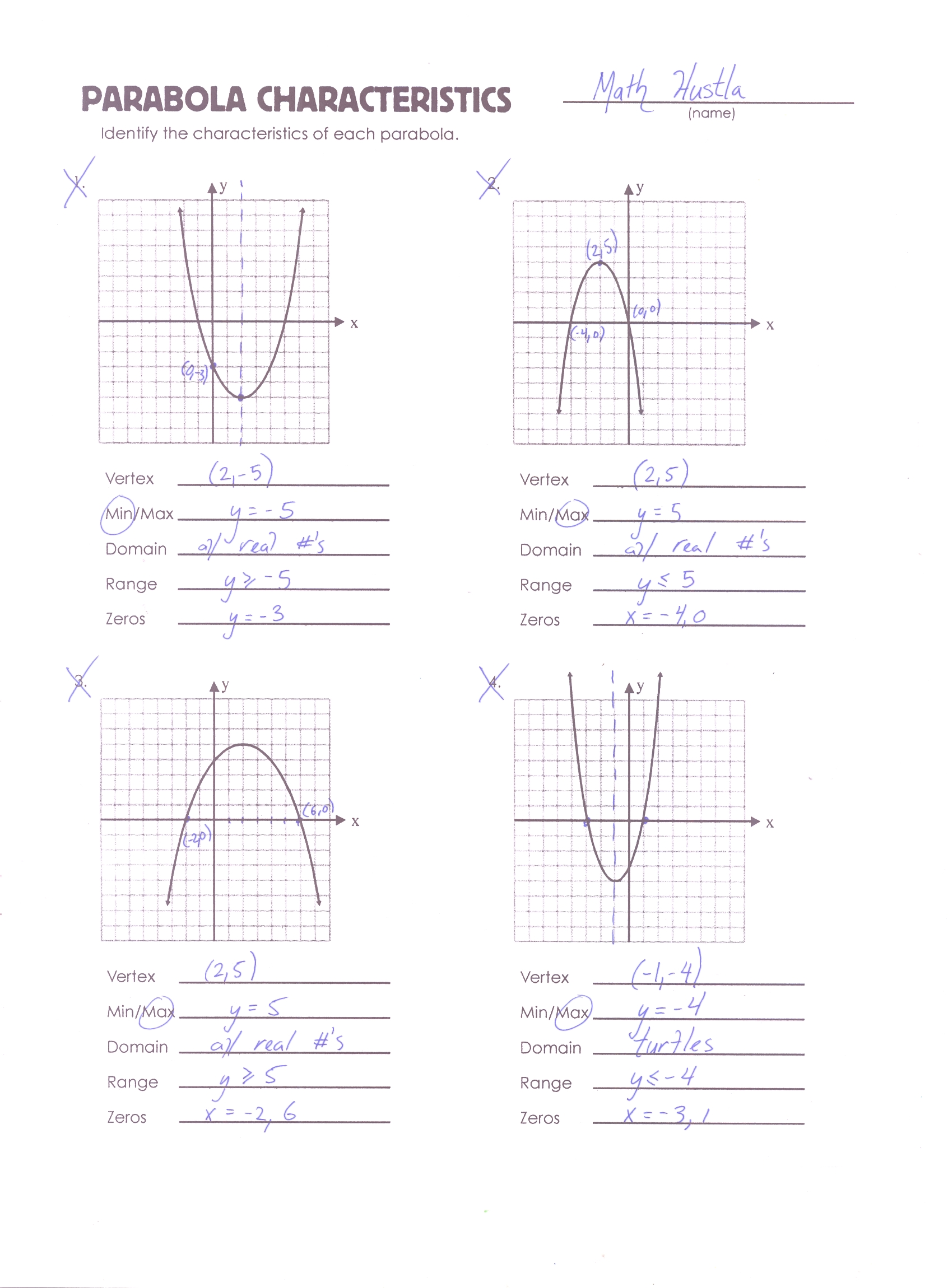 worksheet Parabola Worksheets parabola review worksheet mrmillermath mathhustlaerror