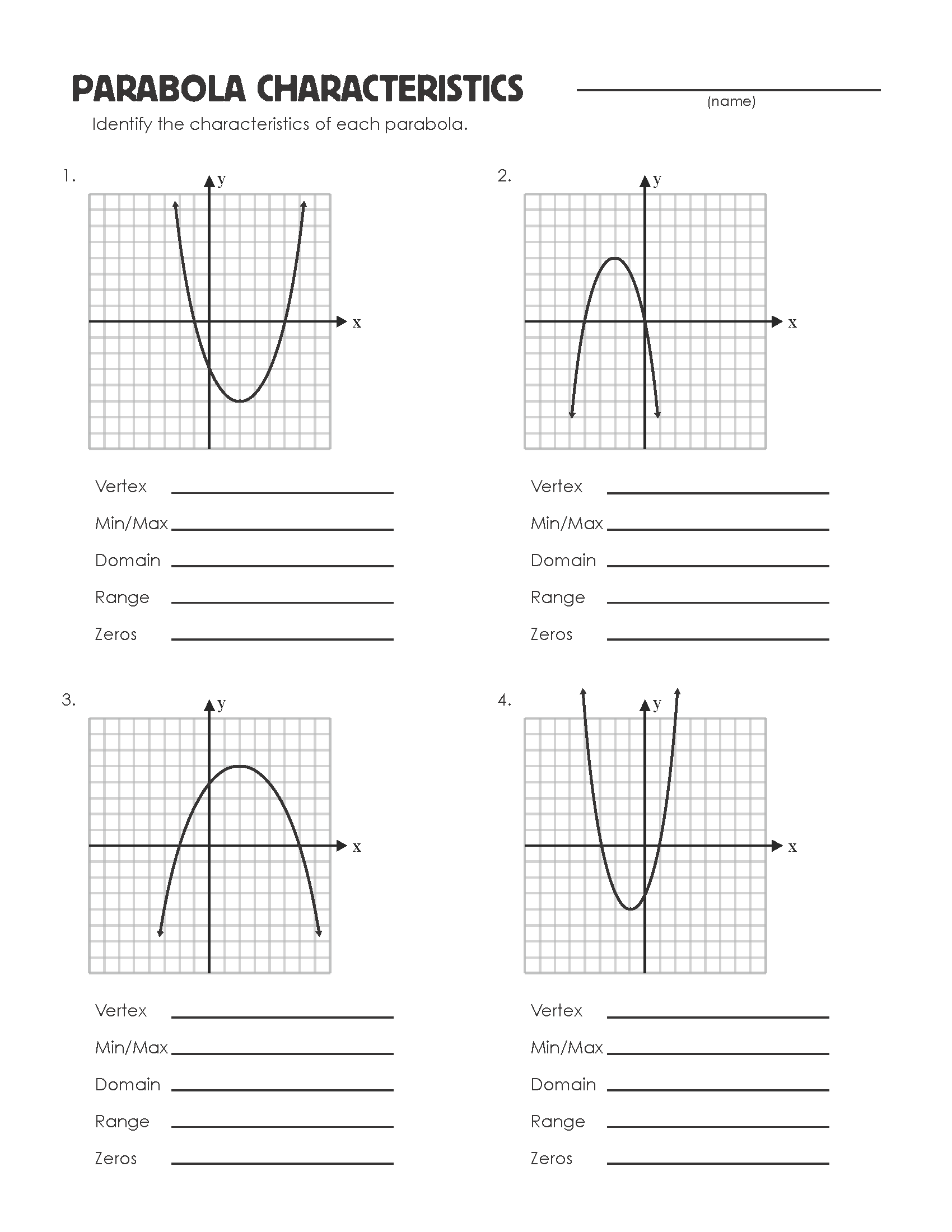 worksheet Parabola Worksheet parabola review worksheet mrmillermath parabolascharacteristics
