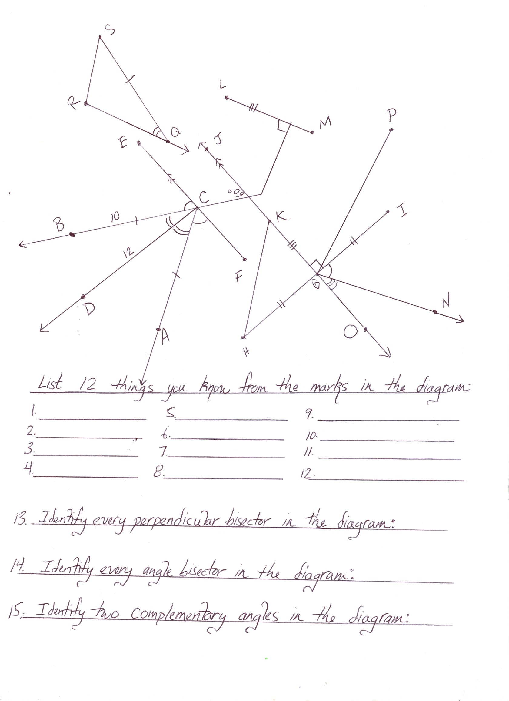 complementary angle – Printable Geometry Worksheets
