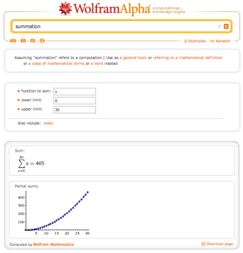 WolframAlphaSummation