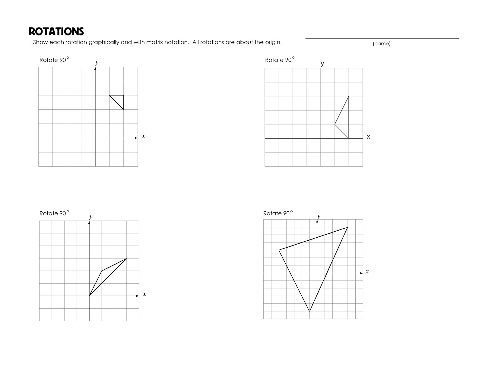 Rotations Worksheet – Geometry Rotations Worksheet