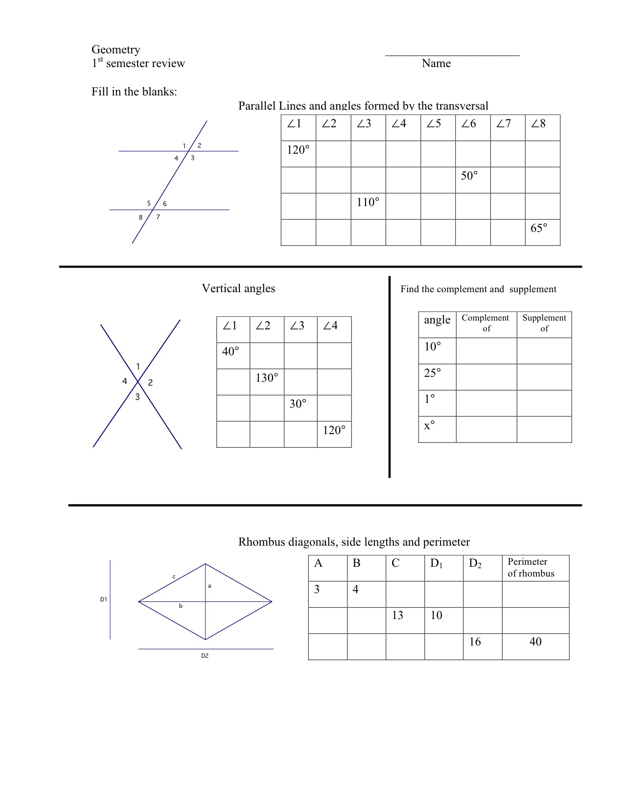 worksheet Geometry Review Worksheets geometry first semester review worksheet mrmillermath 1st sem chart2